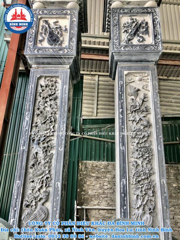 Điêu khắc cột đồng trụ đá kênh bong số 1 tại Ninh Vân