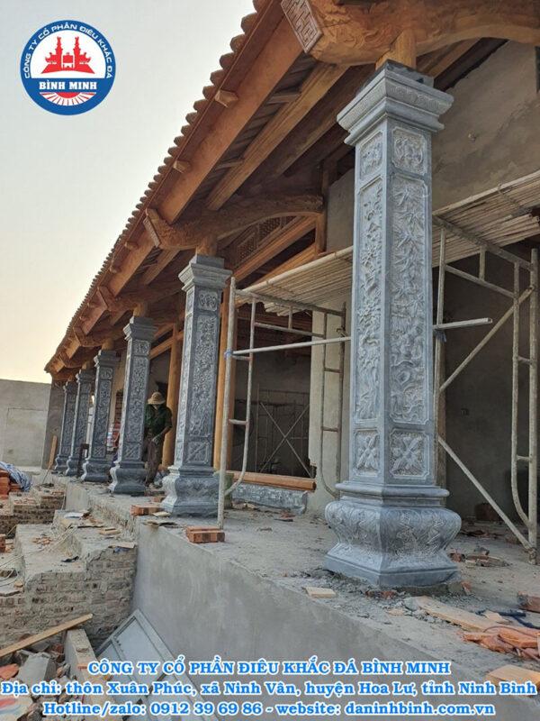 Lắp đặt cột hiên đá đình chùa