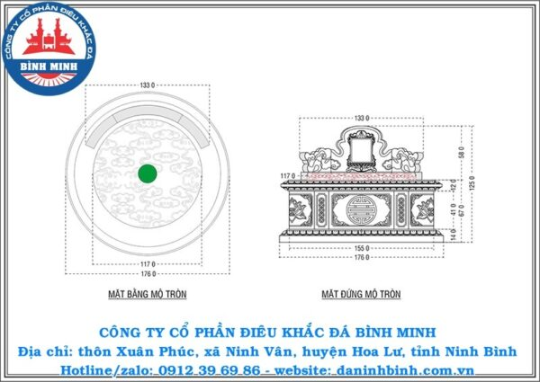 Bản vẽ thiết kế mộ đá tròn Công ty Bình Minh thi công