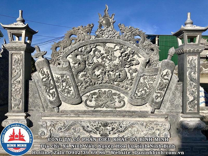 Bình phong đá đẹp đình chùa