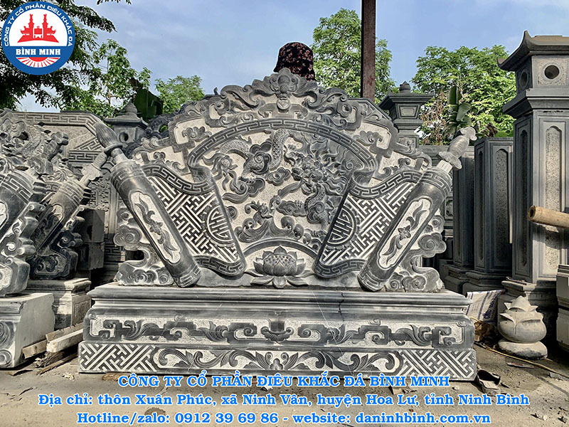 Cuốn thư đá điêu khắc hoa sen đẹp