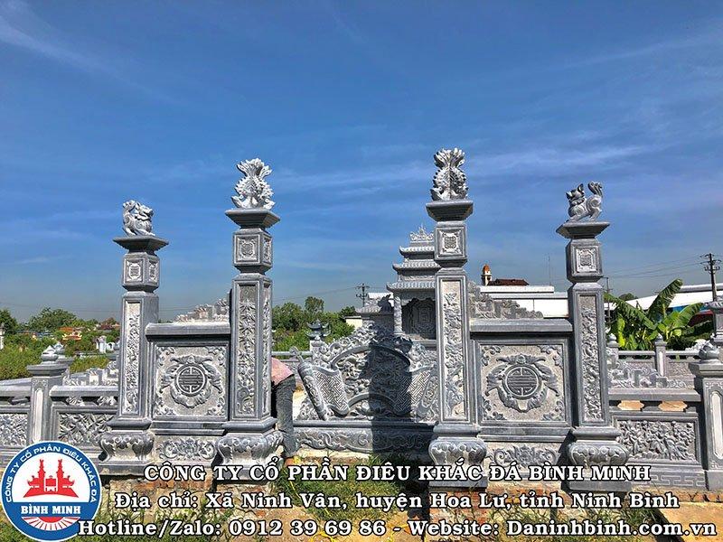 Bộ cột, cổng tứ trụ khu lăng mộ đá đẹp tại Nam Định