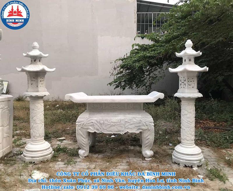 Bộ đèn thờ bằng đá trắng