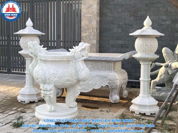 Bộ lư hương đèn đá trắng Công Ty Bình Minh