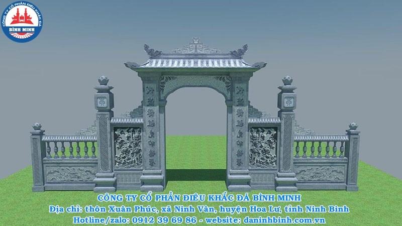 Bản vẽ cổng đá 3D của Đá mỹ nghệ Bình Minh thiết kế