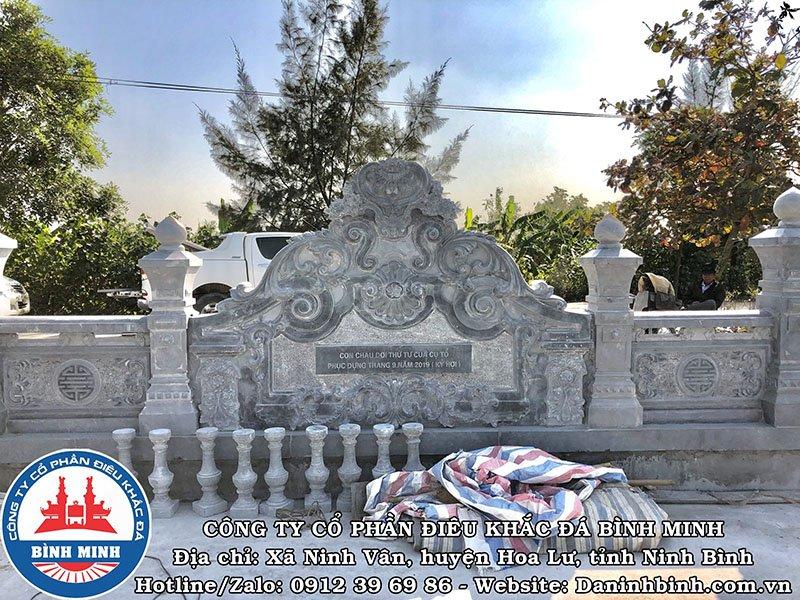 Cuốn thư đá xanh đen phong thủy khu lăng mộ