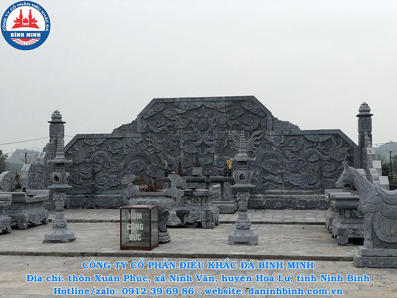 Mẫu cây đèn thờ đá khu lăng mộ ngoài trời