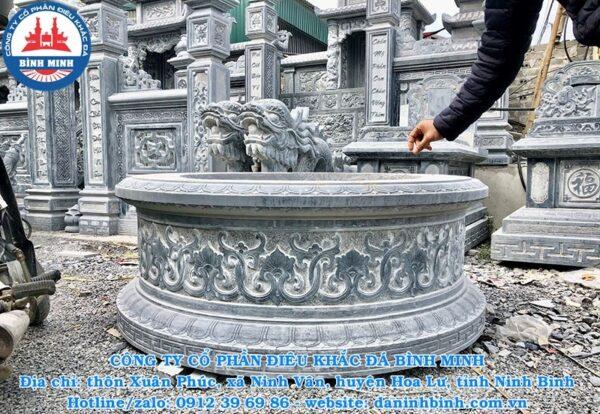 Hoa văn điêu khắc mộ đá tròn nguyên khối đẹp
