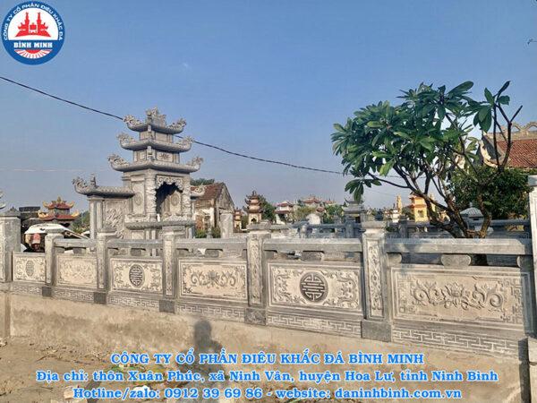 Mẫu lan can đá xanh Thanh Hóa điêu khắc hoa sen