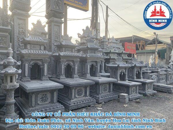 Mẫu mộ đá hai mái đẹp Công ty Bình Minh thi công