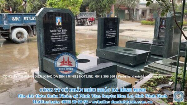 Mẫu mộ đá tam cấp xanh rêu nguyên khối Bình Minh Ninh Bình