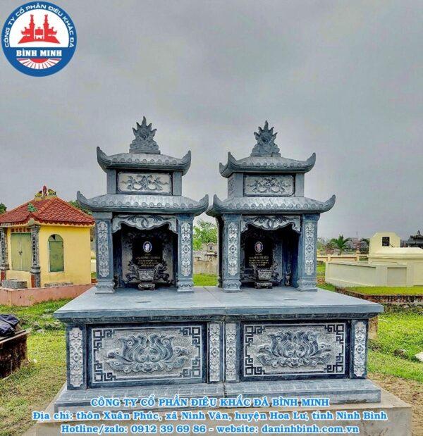 Mẫu mộ hai mái đá xanh Thanh Hóa