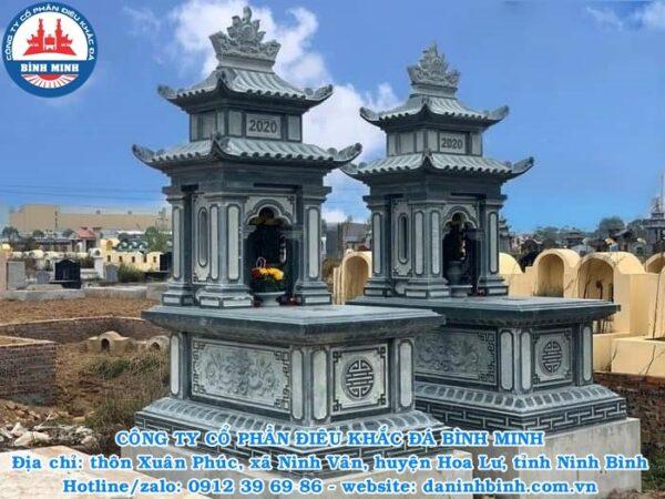 Mộ đá hai mái xanh rêu Công ty Bình Minh