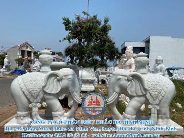 Voi đá trắng Bình Minh thi công
